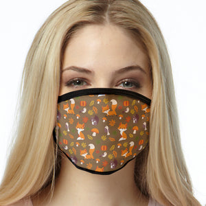 Fox Pattern FACE MASK Brown Fox Cover Your Face Masks