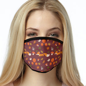 Fox FACE MASK Maroon Fox Pattern Face Covering