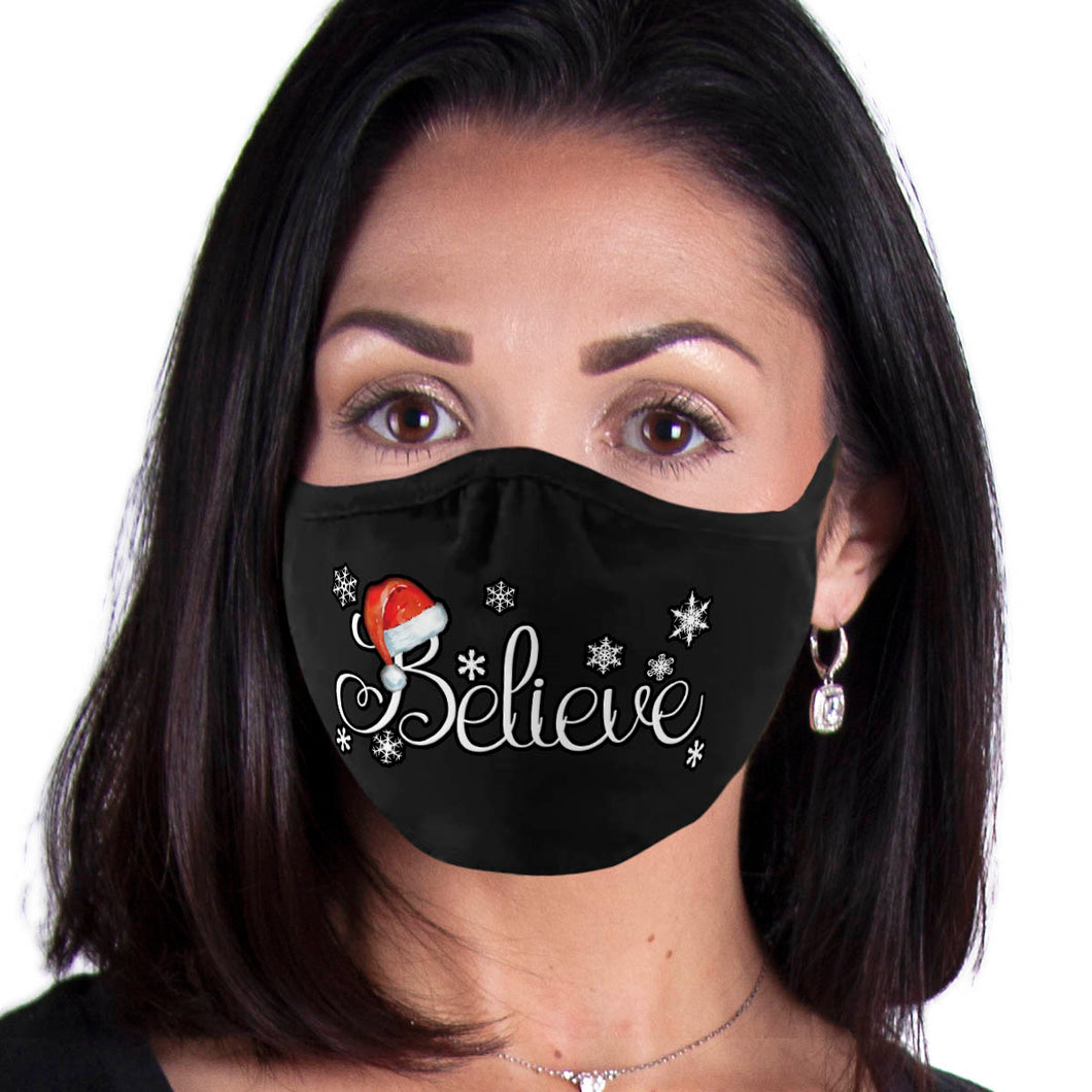 Christmas Face Mask, Believe Santa Face Covering