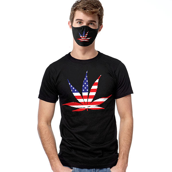 America Pot Leaf T-SHIRT SET - Cover Your Face