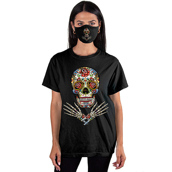 Sugar Skull Hands T-SHIRT SET - Cover Your Face