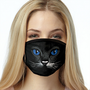 Cat FACE MASK Blue Eyes Black Cat Face Covering