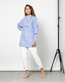 FOLDED BUTTONED STRIPED BLOUSE 1022 - بلوزة