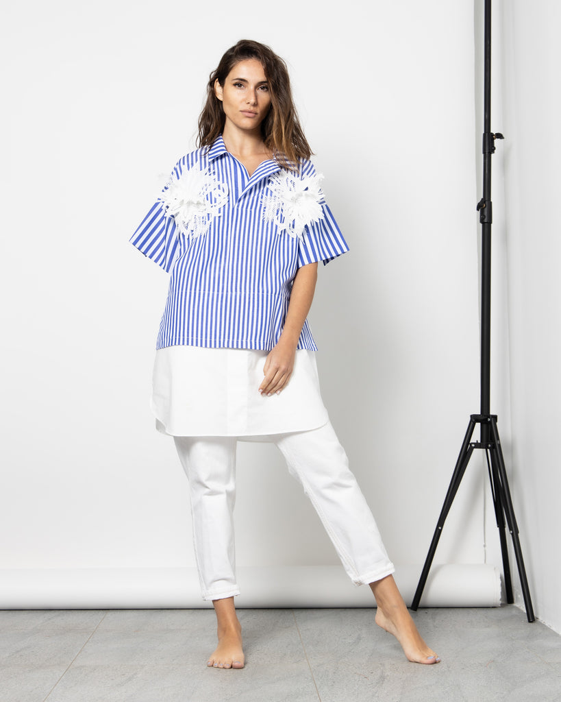 EMBROIDERY FLOWER STRIPED SHIRT 1029 - قميص