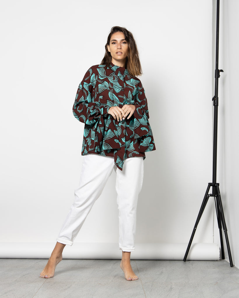 FLORAL PUSSY BOW NECK RIBBON BLOUSE 1102 - بلوزة