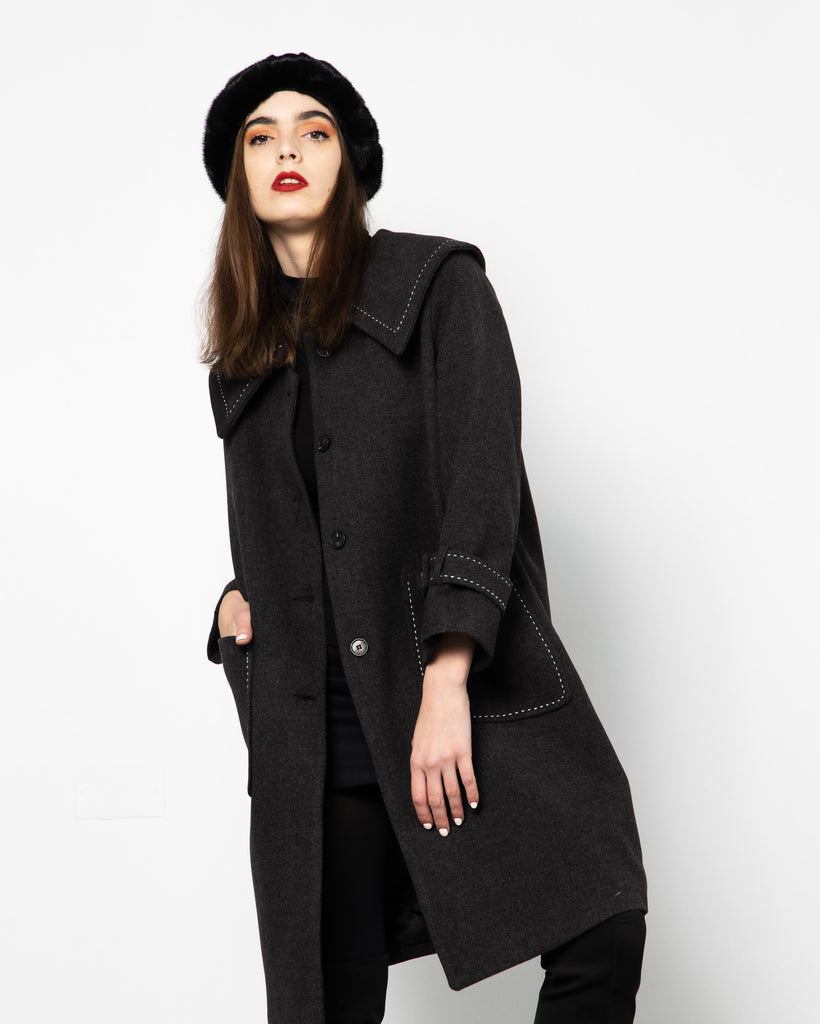 WIDE COLLAR CASHMERE WOOL COAT 1800 - كوت