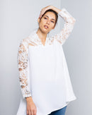 CHIC BLOUSE WITH FLORAL LACE 1867 - بلوزة