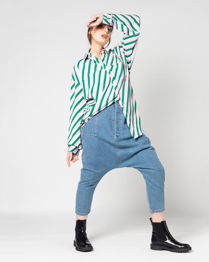 STRIPED COLORED BUTTONED CREPE SHIRT 1382 - قميص