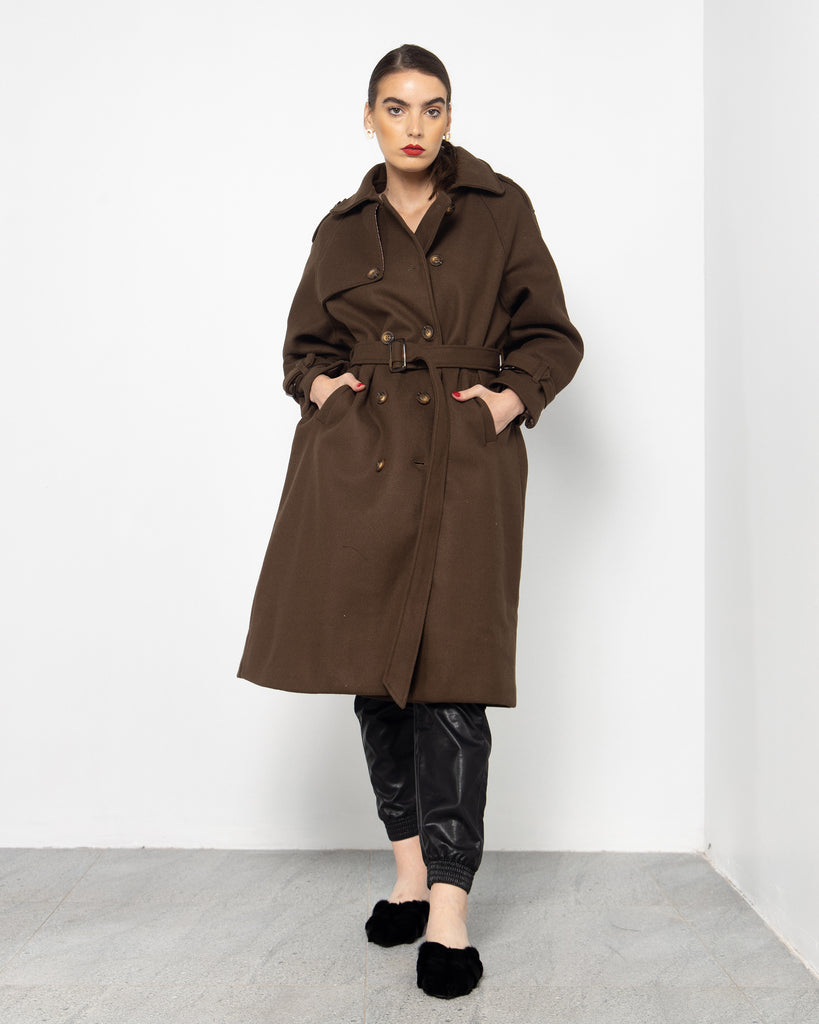 BELTED WAIST BUTTONED BELTED SLEEVES COAT 2008 - كوت