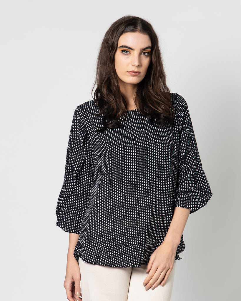 DOTTED ROUND NECK BLOUSE 1075 - بلوزة