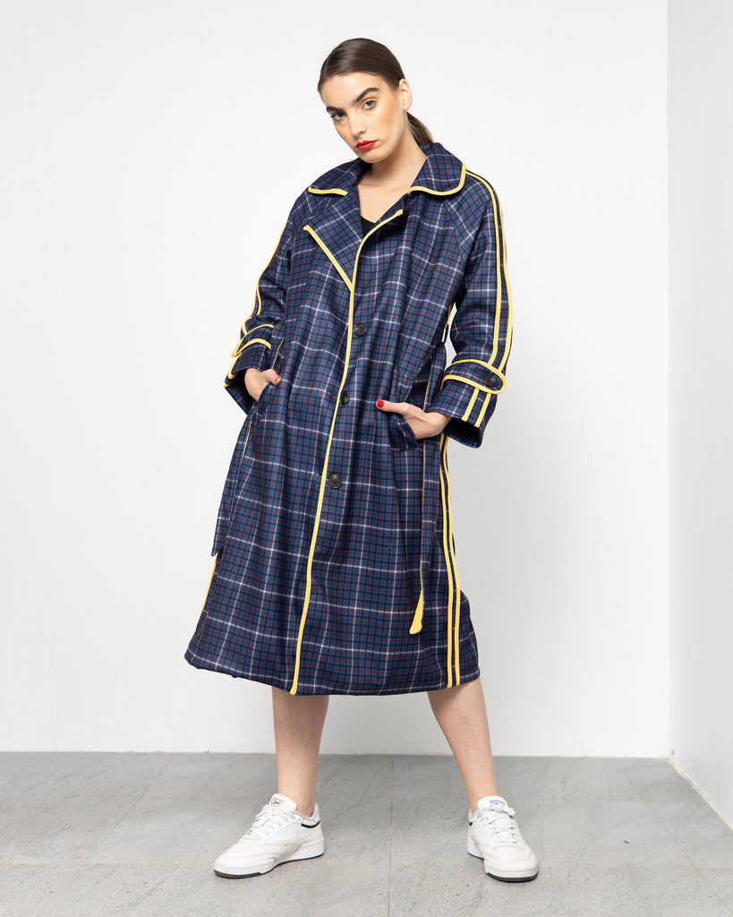 CHECKED FRONT YELLOW LINE COAT 2002 - كوت