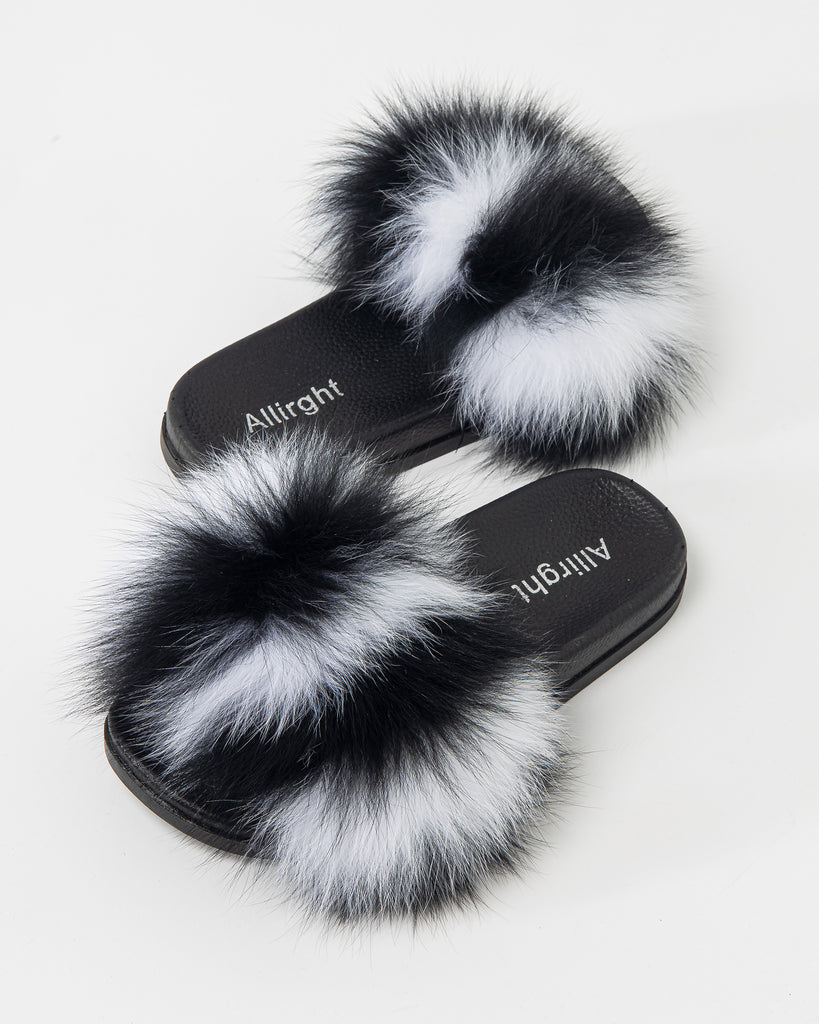 FOX FUR SLIPPERS FUZZY SLIDES 2023 - سلبرز
