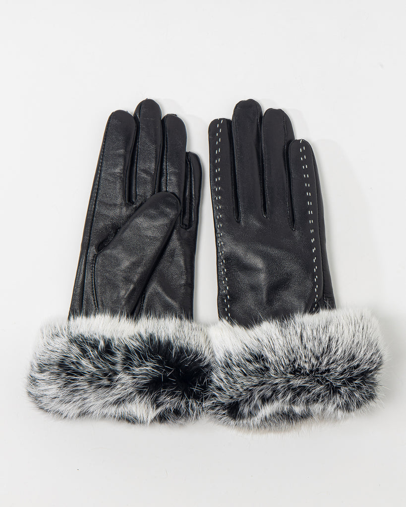 LEATHER FAUX FUR GLOVE 2053 - قفاز