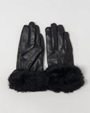 PLAIN LEATHER FAUX FUR GLOVE 2057 - قفاز