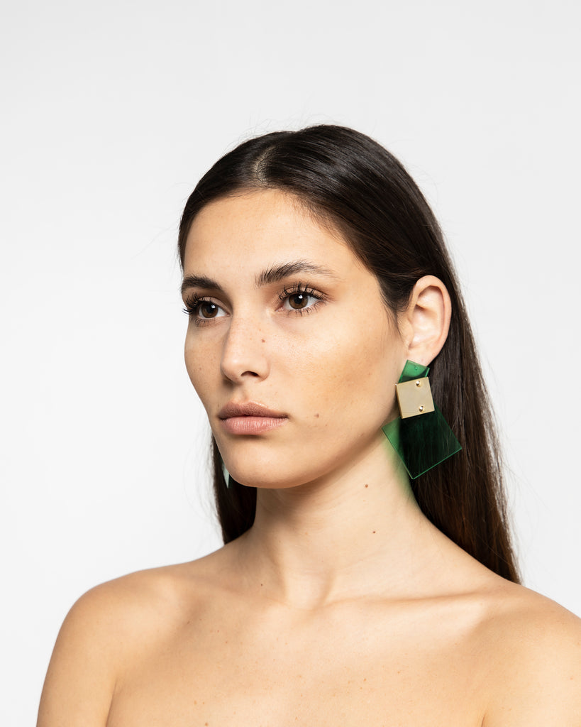 ACRYLIC-GOLD PLATED EARRINGS 1717 - حلق