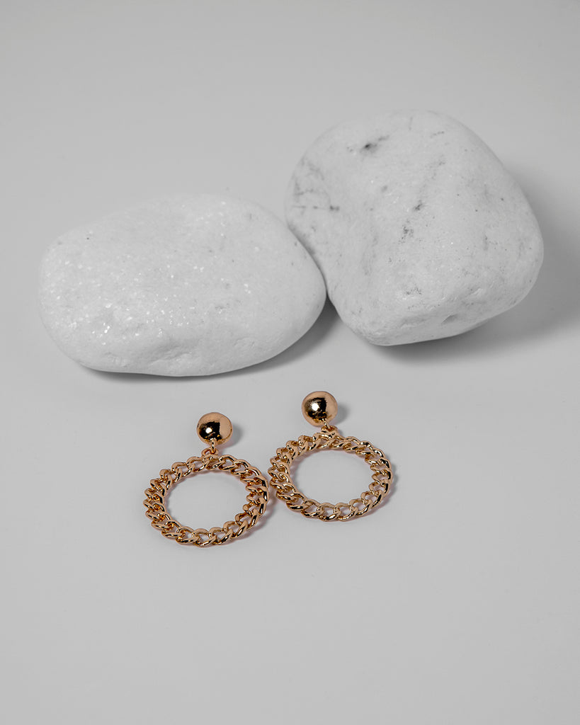 ROUND CHAIN GOLD EARRINGS 2035 - حلق