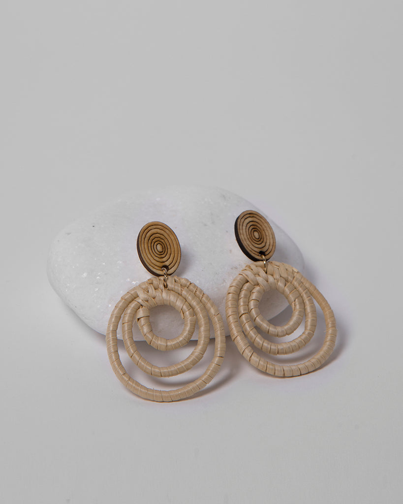 RATTAN HANDMADE HOOP EARRINGS 2122 - حلق