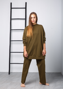 ROUND NECK OVERSIZED TOP W/WIDE LEG PANT ACTIVEWEAR 2256 - ملابس رياضية