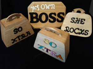wooden mini purses
