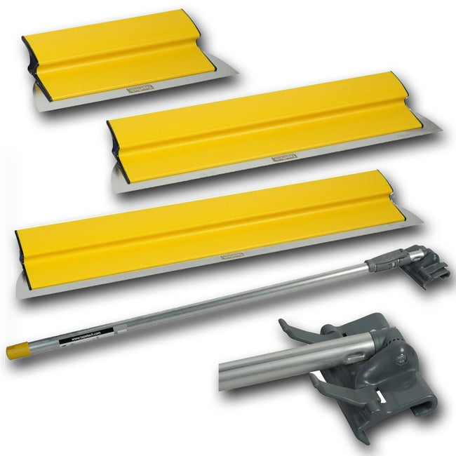 "Tapetech Premium Drywall Skimming Smoothing Blade Set - 10"", 18"", 24"" w/ Extendable Handle - #BFCM - Toolriver 