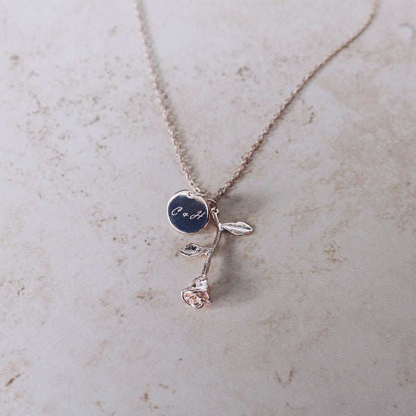 Rose Initials Necklace