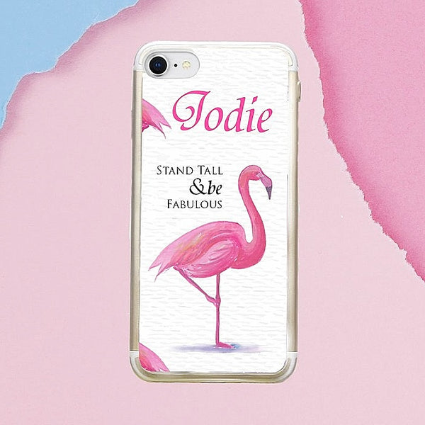 Personalised Flamingo iPhone Clear Case (For iPhone 6/6s/7/7+/8/8+/X)