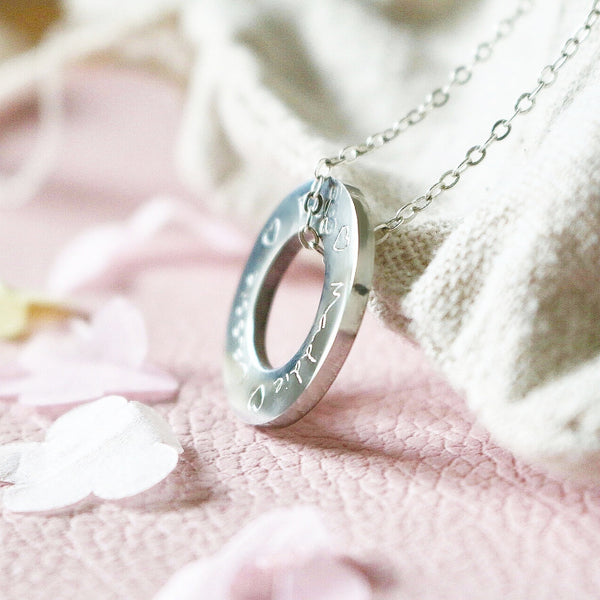 Handwritten Washer Necklace