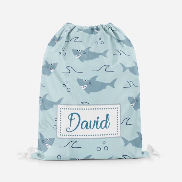 Cute Shark Drawstring Bag