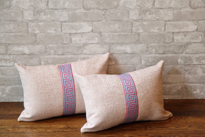PINK TWEED WITH BLUE GREEK KEY TRIM PILLOW COVER //ready to ship// - Pillow Talk Design | Pretty Home Accessories