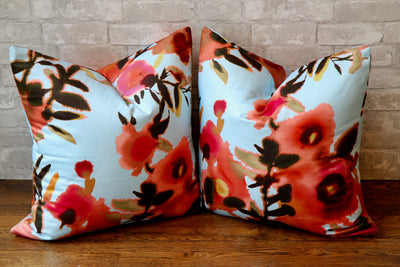 OPEN SPACES AQUA & CORAL PILLOW COVER - Pillow Talk Design | Pretty Home Accessories