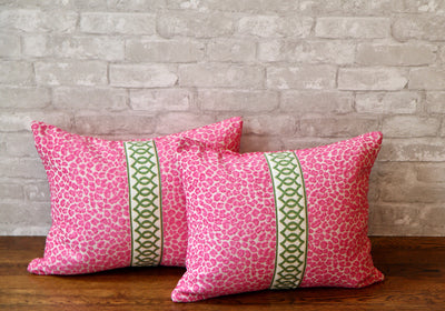 HOT PINK SPOTS WITH ACCENTING TRIM PILLOW COVER //READY TO SHIP// - Pillow Talk Design | Pretty Home Accessories