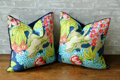 HONSHU FLORAL NAVY PILLOW COVER - Pillow Talk Design | Pretty Home Accessories
