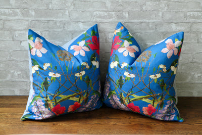 ENGLISH TEA HOUSE BLUE PILLOW COVER - Pillow Talk Design | Pretty Home Accessories