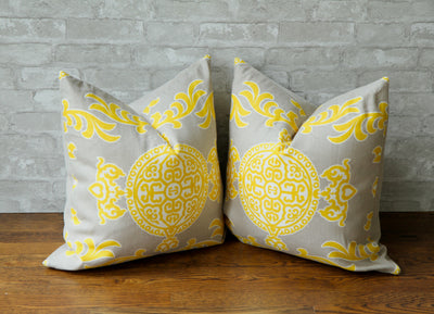 HALIE GREY & LEMON PILLOW COVER - Pillow Talk Design | Pretty Home Accessories