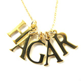 5 initials charm necklace, 14k gold filled|שרשרת 5 אותיות באנגלית