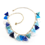 Blue and white Lampwork Necklace|שרשרת בכחול ולבן