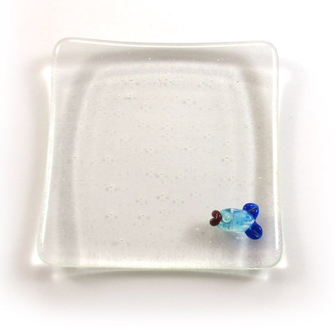 Clear Fused glass soap dish with a fish|סבונייה שקופה עם דג