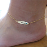 Ankle Bracelet, 14k Gold-Filled|צמיד אליפסה לרגל מגולדפילד 14 קראט