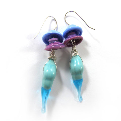 Japanese scent, Lampwork Earrings, sterling silver|עגילי ניחוח יפני