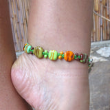 Lampwork Ankle Bracelet, earth, sterling silver|צמיד זכוכית לרגל מכסף סטרלינג