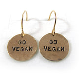 Go vegan Earrings, 14k gold-filled|עגילי גו ויגן, גולדפילד 14 קראט