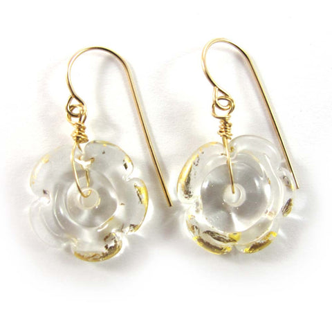 Lampwork Earrings, glamour, 14k gold-filled|עגילים מזכוכית, שקוף וזהב