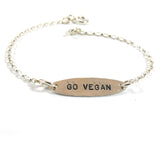 Go vegan, Ellipse, silver|צמיד אליפסה גו ויגן מכסף