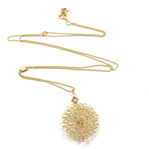 Knitted Necklace, Scent of the past, 14k gold-filled|שרשרת סרוגה מגולדפילד, ניחוח עתיק