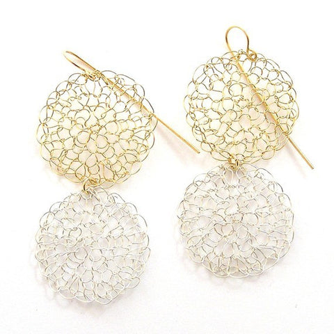 Knitted earrings, Duet of gold and silver|עגילים סרוגים דואט כסף וגולדפילד