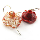 Duet in red, Lampwork Earrings, sterling silver|עגילי פעמונים באדום ושקוף