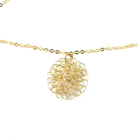 Knitted Necklace, little gold lace, 14k gold-filled|שרשרת סרוגה, עיגול תחרה קטן