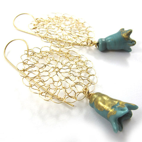 Knitted earrings, Noona turquoise|עגילים סרוגים מגולדפילד