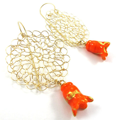 Knitted earrings, Noona line, orange|עגילים סרוגים מגולדפילד