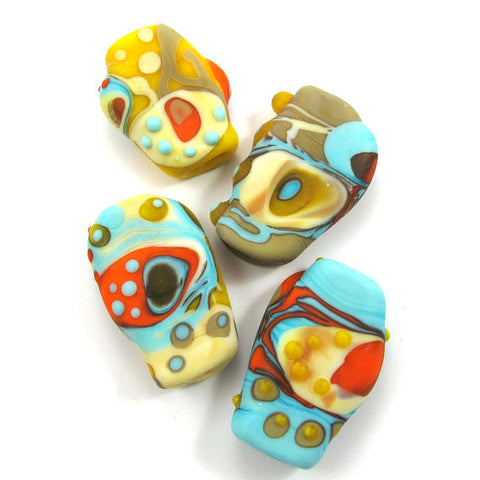 Lampwork Squeezed beads - Dali (4) SRA|חרוזי מבער שטוחים דאלי